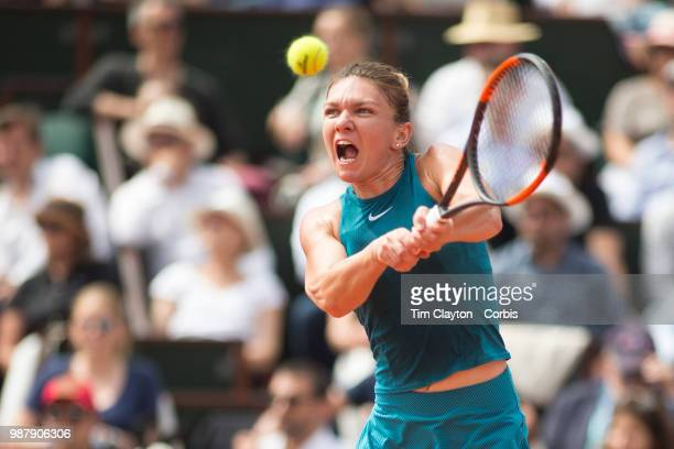 June 9. French Open Tennis Tournament - Day Twelve. Simona Halep of Romania in action against Sloane Stephens of the United States on Court...