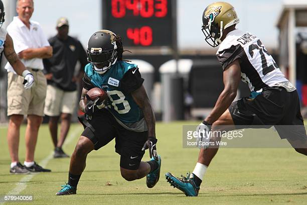June 9th 2015 Jacksonville FL USA WR Ace Sanders runs pass CB Tommie Campbell during the Jacksonville Jaguars OTA's held at the Florida Blue Health...