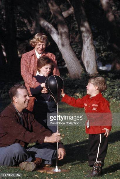 June Allyson and Dick Powell with their kids Dick Powell Jr and Pamela Powell in circa 1954 in Los Angeles California