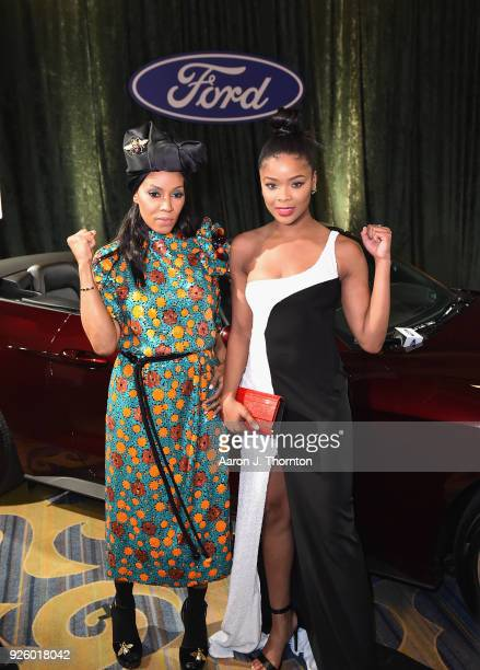 June Ambrose and Ajiona Alexus attend the 2018 Essence Black Women In Hollywood Oscars Luncheon at Regent Beverly Wilshire Hotel on March 1 2018 in...