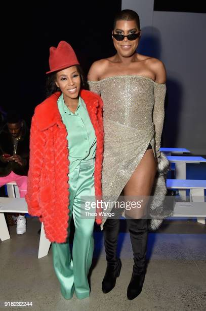 June Ambrose and EJ Johnson attend the Laquan Smith front row during New York Fashion Week The Shows at Gallery I at Spring Studios on February 14...