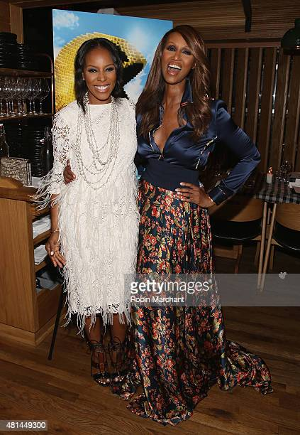 June Ambrose and Iman Abdulmajid attends a Dinner Honoring The Women Of 'Pixels' at Upland on July 20 2015 in New York City