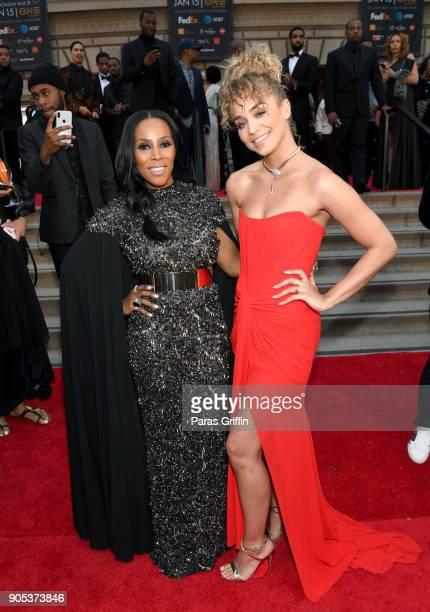 June Ambrose and Jasmine Sanders attend the 49th NAACP Image Awards at Pasadena Civic Auditorium on January 15 2018 in Pasadena California