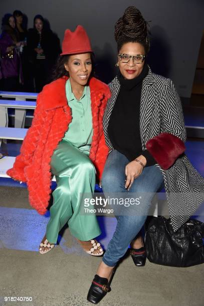 June Ambrose and Julee Wilson attend the Laquan Smith front row during New York Fashion Week The Shows at Gallery I at Spring Studios on February 14...