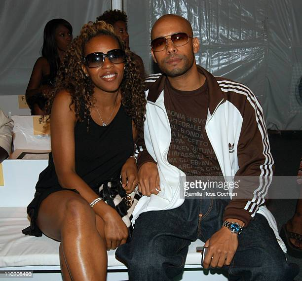 June Ambrose and Marc Chamblin during Olympus Fashion Week Spring 2005 Fusha Front Row and Backstage at The Bryant Bryant Park in New York City New...