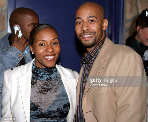 June Ambrose and Marc Chamblin during Wyclef Jean Birthday Party at Quo in New York City New York United States