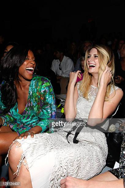 June Ambrose and Mischa Barton for FIJI Water at Naeem Kahn Spring 2012 MercedesBenz Fashion Week on September 15 2011 in New York City