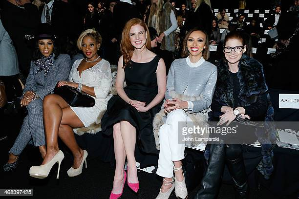 June Ambrose Mary j Blige Sarah Rafferty Guliana Rancic and Debra Messing attend the Dennis Basso show during MercedesBenz Fashion Week Fall 2014 at...