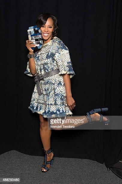 June Ambrose poses backstage before the Jeremy Scott show at The Arc, Skylight at Moynihan Station as part of 'NYFW The Shows' Spring 2016 New York...