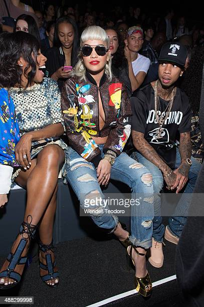 June Ambrose, Rita Ora and rapper Tyga attend the Jeremy Scott show at The Arc, Skylight at Moynihan Station as part of 'NYFW The Shows' Spring 2016...
