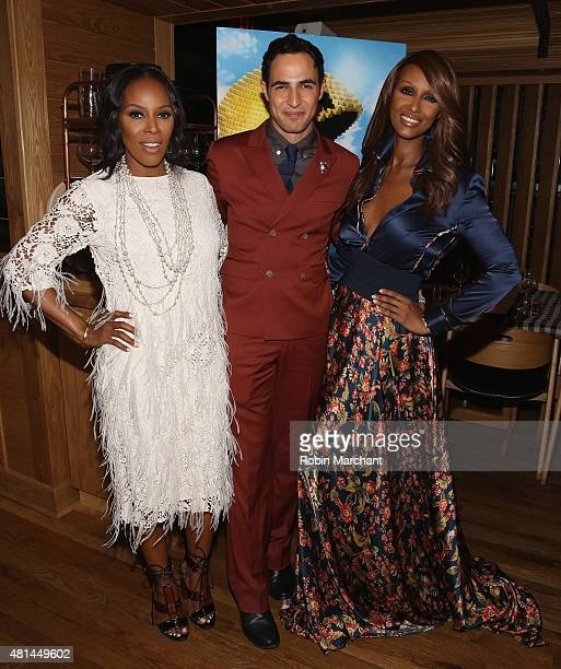 June Ambrose Zac Posen and Iman Abdulmajid attends a Dinner Honoring The Women Of 'Pixels' at Upland on July 20 2015 in New York City