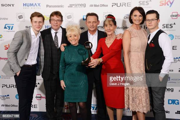 June Brown with her Special Award and Jamie Borthwick Adam Woodyatt Barbara Windsor Perry Fenwick Emma Barton and Harry Reid pose in the winners room...