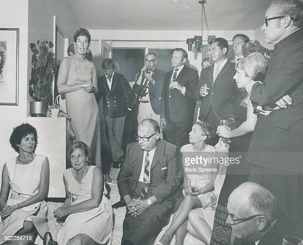 June Callwood still shaken from being arrested Wednesday night during the Yorkville disturbances talks to the guests of Mr and Mrs Frank Shuster at...