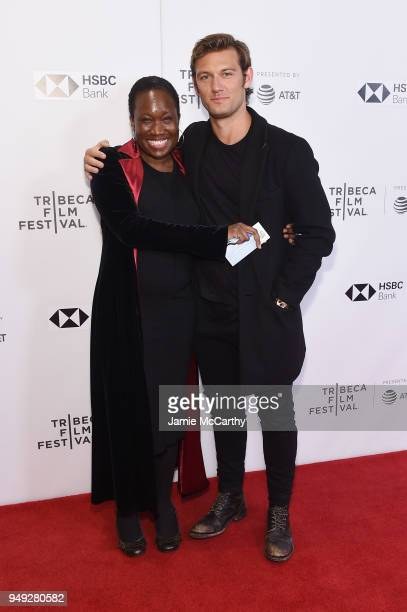 June Carryl and director Alex Pettyfer attend the screening of 'Back Roads' during the Tribeca Film Festival at Cinepolis Chelsea on April 20 2018 in...