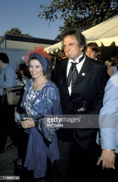 June Carter Cash and Johnny Cash during Opening Ceremony For Liberty Weekend at Governor's Island in New York City New York United States