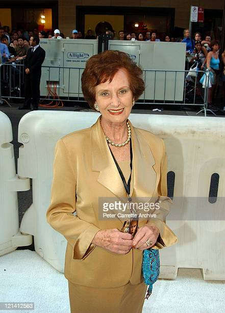 June Dally Watkins arrives for the Australian premiere of the film 'Cold Mountain' at the State Theatre on December 17 2003 in Sydney Australia