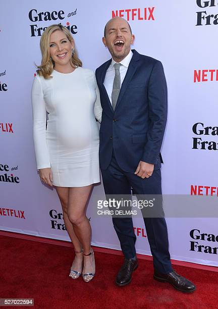 June Diane Raphael and Paul Scheer attend the Season 2 Premiere of Grace and Frankie in Los Angeles California on May 1 2016 / AFP / CHRIS DELMAS