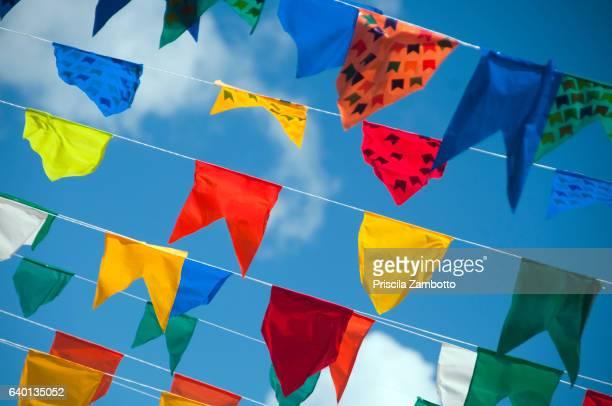 June festivals with colorful flags, São Luis, Maranhão