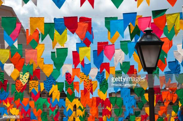 june festivals with colorful flags, são luis, maranhão - cultures stock pictures, royalty-free photos & images