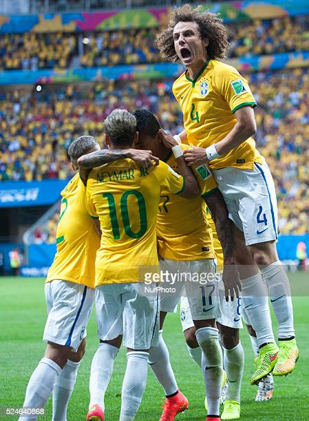 Goal celebration of Brazil players in the match between Cameroon and Brazil in the group stage of the 2014 World Cup for the group A match at the...