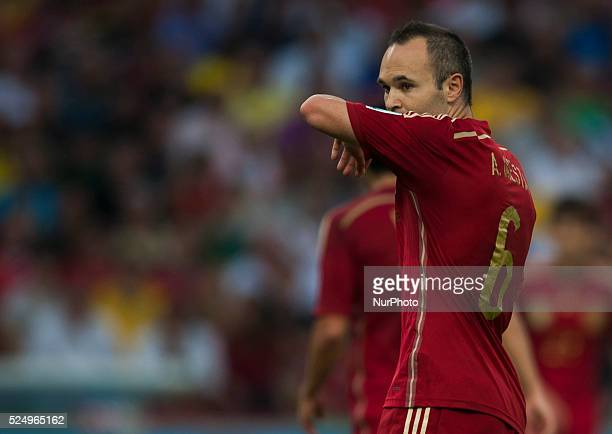 June: Iniesta in the match between Spain and Chile in the group stage of the 2014 World Cup, for the group B match at the Beira Rio stadium, on June...