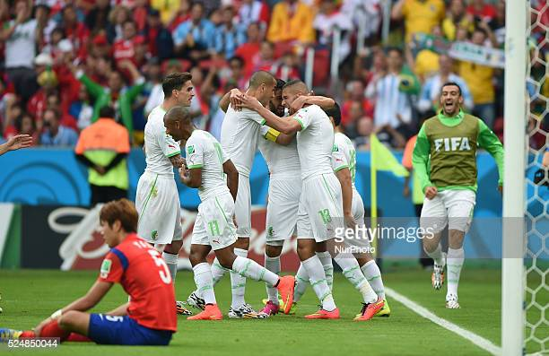 Islam Slimani celebration in the match between South Korea and Algeria in the group stage of the 2014 World Cup for the group H match at the Beira...