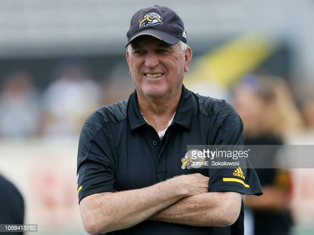 HAMILTON ON JULY 28 2018 June Jones head coach of the Hamilton TigerCats prior to a game against the Ottawa Redblacks at Tim Hortons Field on July 28...