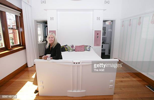 June Kane has a Charles Rennie MacKintosh inspired bedroom and ensuite in her 1930's home in Essendon 25th Jan 2006 THE AGE DOMAIN Picture by REBECCA...