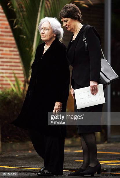 June Lady Hillary and Prime Minister Helen Clark leave St Marys church following the State Funeral for Sir Edmund Hillary at St Marys Cathedral on...