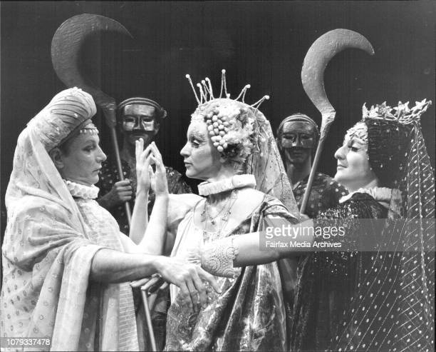 June Queen of the gods played by Barbara Farrell rehearses a scene from William Shakespeare's The Tempest the first productions by the Old Tote...