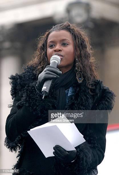June Sarpong during MAKEPovertyHISTORY Rally at Trafalgar Square in London Great Britain