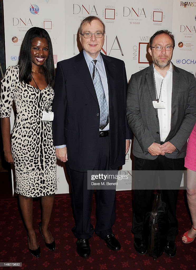 June Sarpong, Microsoft co-founder Paul Allen and Jimmy Wales attend the DNA (Decide Now Act) Summit Innovation 101 Power Breakfast in the Cholmondeley Room & Terrace at the House of Lords on July 26, 2012 in London, England.