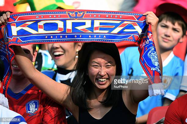 South Korea supporter in the match between South Korea and Algeria in the group stage of the 2014 World Cup for the group H match at the Beira Rio...