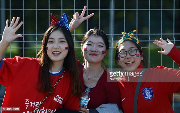 South Korean supporters before in the match between South Korea and Algeria in the group stage of the 2014 World Cup for the group H match at the...