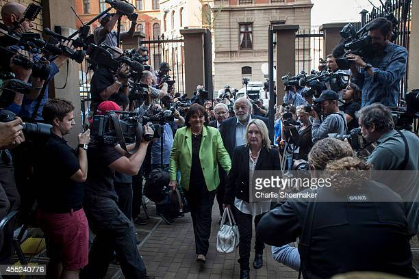 June Steenkamp and Barry Steenkamp arrive at the High Court on September 11, 2014 in Pretoria, South Africa. South African Judge Thokosile Masipa is...