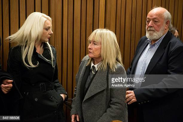June Steenkamp and Barry Steenkamp , parents of the Reeva Steenkamp and Reeva's cousin Kim Martins are seen during South African Paralympic athlete...