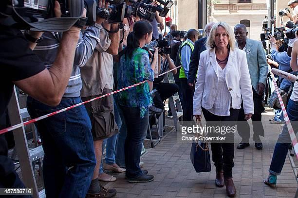 June Steenkamp arrives at the North Gauteng High Court for the sentencing of Oscar Pistorius on October 21, 2014 in Pretoria, South Africa. Pistorius...