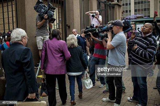 June Steenkamp arrives at North Gauteng High Court on October 15, 2014 in Pretoria, South Africa. Pistorius will be sentenced having been found...