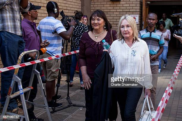 June Steenkamp leaves the North Gauteng High Court on October 14, 2014 in Pretoria, South Africa. Pistorius will be sentenced having been found...