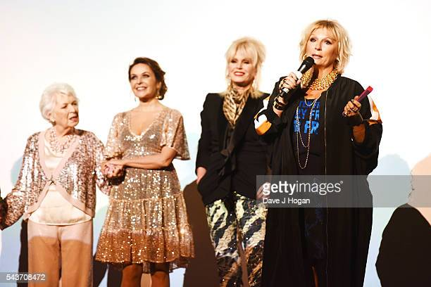 June Whitfield Julia Sawalha Joanna Lumley and Jennifer Saunders attend the World Premiere of Absolutely Fabulous The Movie at Odeon Leicester Square...