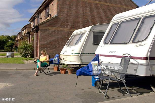 June Willey sits in front of her caravan on California Drive in Catcliffe Sheffield UK on Tuesday Aug 7 2007 Willey and her family are living in the...