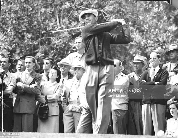 Title Bound––Bantam Ben Hogan belts one long and true off 15th tee during yesterday morning round of U.S. Open Golf Tournament at Riviera Country...