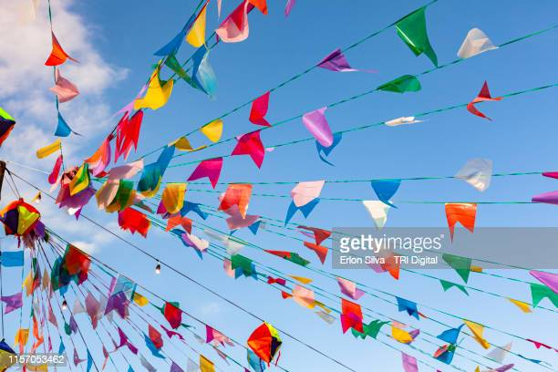 june's month is time to country party in brazil decorated with colorful flags - festa junina - fotografias e filmes do acervo