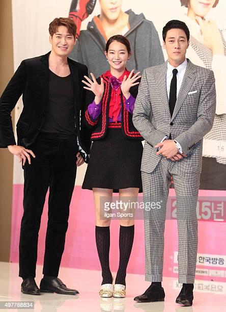 Jung Gyuwoon Shin Mina and So Jisub attend the KBS drama 'Oh My Venus' press conference at Amoris on November 11 2015 in Seoul South Korea