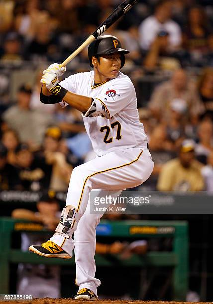 Jung Ho Kang of the Pittsburgh Pirates at bat in the seventh inning during the game against the San Diego Padres at PNC Park on August 9 2016 in...