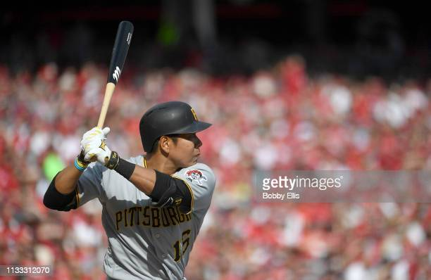 Jung Ho Kang of the Pittsburgh Pirates bats in the second inning on Opening Day between the Pittsburgh Pirates and the Cincinnati Reds at Great...