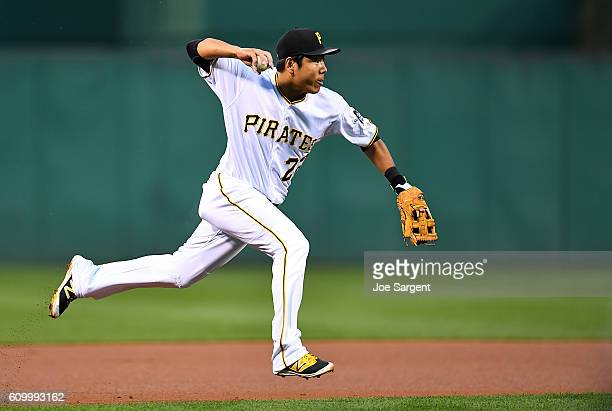 Jung Ho Kang of the Pittsburgh Pirates fields a ball hit by Jayson Werth of the Washington Nationals during the first inning on September 23 2016 at...