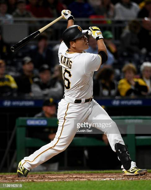 Jung Ho Kang of the Pittsburgh Pirates hits a solo home run to center field in the sixth inning during the game against the Arizona Diamondbacks at...