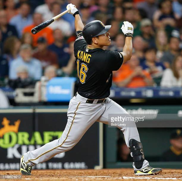 Jung Ho Kang of the Pittsburgh Pirates hits a tworun home run in the sixth inning against the Houston Astros at Minute Maid Park on June 26 2019 in...