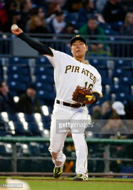 Jung Ho Kang of the Pittsburgh Pirates in action against the St Louis Cardinals at PNC Park on April 3 2019 in Pittsburgh Pennsylvania